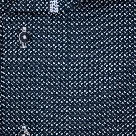 Pánská košile AMJ bavlněná, tmavě modrá s bílými měsíčky a tečkami VKBR1201, krátký rukáv (regular + slim fit)