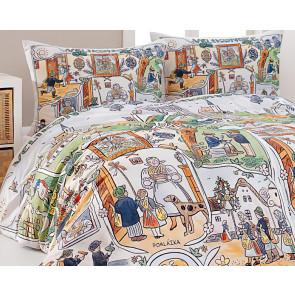 Povlečení JOSEF LADA VELIKONOCE, bílé a barevné, bavlna hladká digitál, 140x200cm + 70x90cm