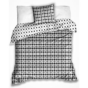 Povlečení RASTER ŠEDÉ kosočtverce, bavlna hladká, 140x200cm + 70x90cm
