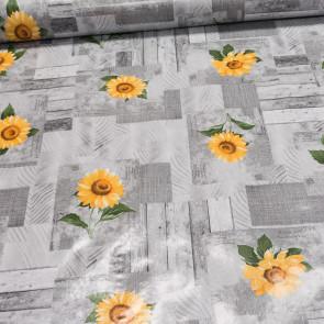 Ubrus PVC s textilním podkladem 163B slunečnice na šedém skládaném dřevě, š.140cm (metráž)