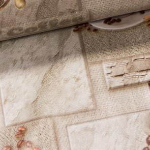 Ubrus PVC s textilním podkladem 178A kávová zrnka, béžová, š.140cm (metráž)