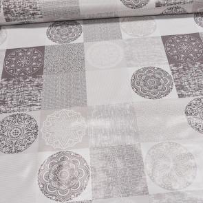 Ubrus PVC s textilním podkladem 208-1 mandaly na čtvercích, béžová, š.140cm (metráž)