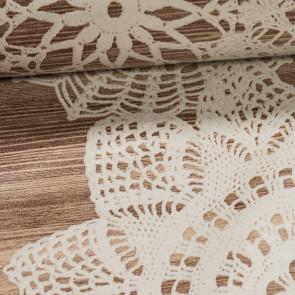 Ubrus PVC s textilním podkladem 464-1, krajka na béžovém dřevě, š.140cm (metráž)