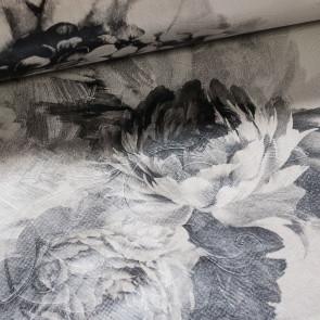 Ubrus PVC s textilním podkladem 505-01 hortenzie a pivoňky šedé, š.140cm (metráž)