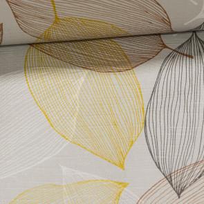 Ubrus PVC s textilním podkladem 5734820, barevné listy na světle šedé, š.140cm (metráž)